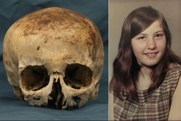 Le crâne de Wanda, découvert en 1986 dans une forêt, et une photo de la jeune fille lorsqu'elle avait 12 ans, soit 7 ans avant sa disparition.