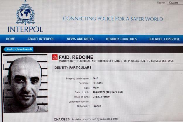 La fiche Interpol de Redouane Faïd.