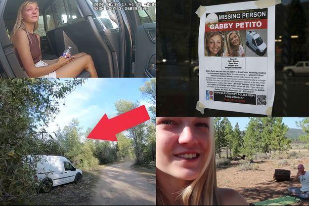 L'avis de recherche montrant le visage de Gabby, avant que son corps ne soit retrouvé dimanche dernier dans le Wyoming, ainsi que des captures d'écran de vidéos publiées sur YouTube à propos de cette affaire.