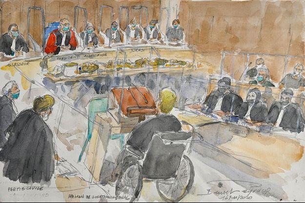 Dessin réalisé lors de la première journée d'audience au procès de Jonathann Daval à Vesoul.