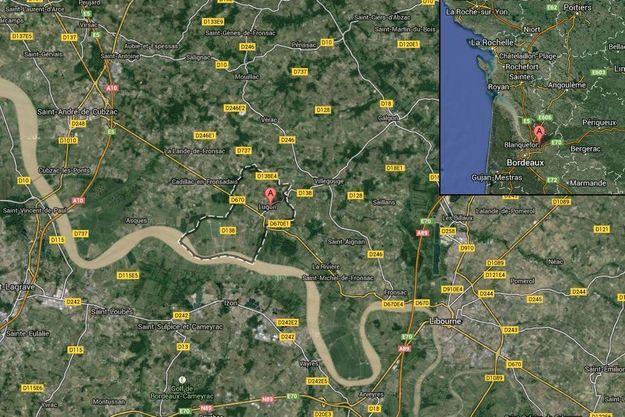 Lugon-et-l'île-du-Carnay, près de la rivière Dordogne, où a eu lieu l'accident d'hélicoptère.