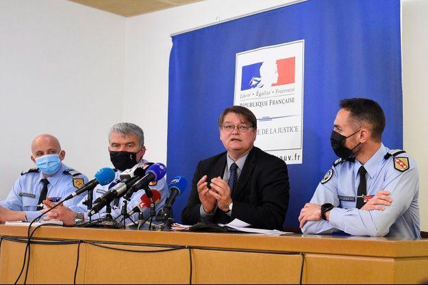 Le procureur de la République de Nancy lors de sa conférence de presse à Nancy, dimanche.
