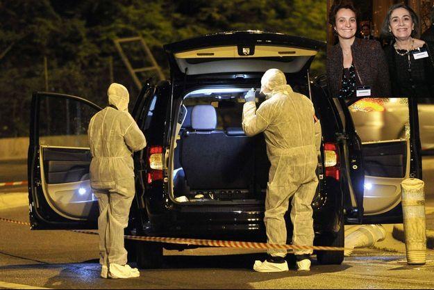 Les enquêteurs inspectent le monospace criblé d'impacts dans lequel se trouvaient Hélène Pastor et son chauffeur, Mohamed Darwich, le 6 mai 2014 à Nice. En médaillon: L'héritière monégasque et sa fille Sylvia lors du Business Angels Forum de Monaco, le 30 novembre 1999.