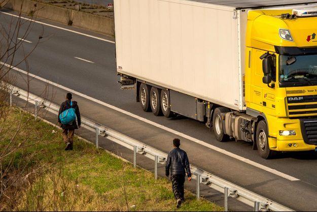 Migrants au bord de l'autoroute A25, en février dernier, au sud-est de Calais.