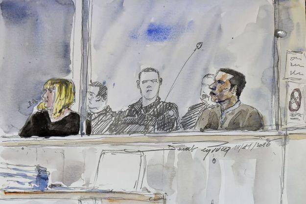 Cécile Bourgeon et Berkane Makhlouf lors du procès aux assises.