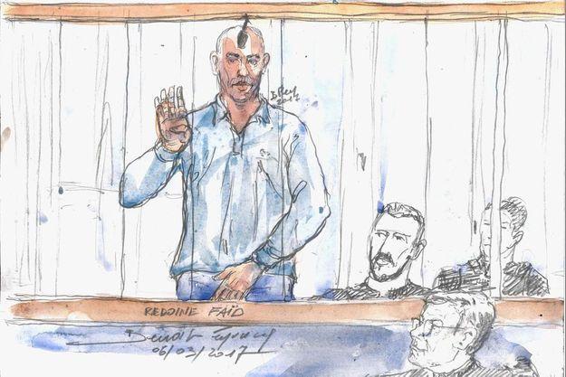 Dessin de Redoine Faïd lors de son procès à Douai en 2017.