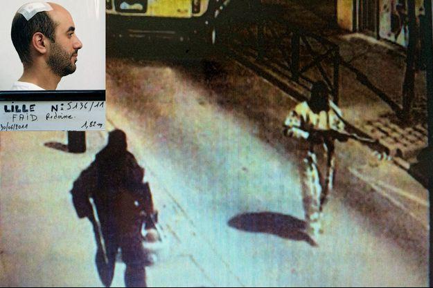 Pour la PJ, c'est signé : qui pourrait s'habiller en blanc pour un braquage (celui raté de Gentilly en 2009) à part Rédoine Faïd le meneur présumé ? En médaillon: après son arrestation à Lille, le 28 juin 2011. Recherché depuis plus d'un an pour deux attaques de fourgon blindé, dont celle qui a coûté la vie à Aurélie Fouquet.