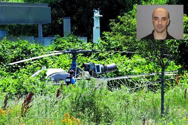 Dimanche 1er juillet, les gendarmes retrouvent l'Alouette II près de Gonesse. Le commando a libéré le pilote et s'est enfui dans une Megane. En médaillon, Redoine Faïd.