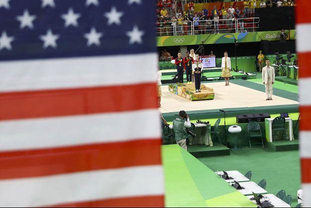 Image d'illustration. L'équipe américaine de gymnastique sur le podium des JO de Rio.