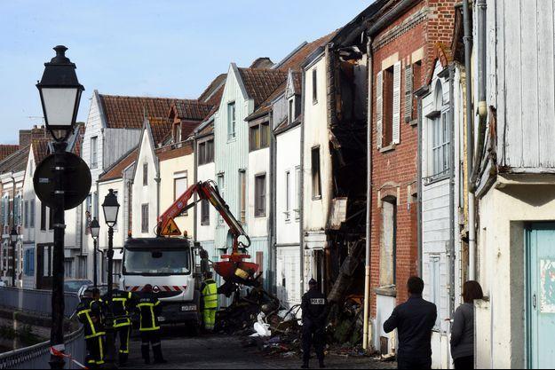 Sur les lieux du drame à Amiens, jeudi.