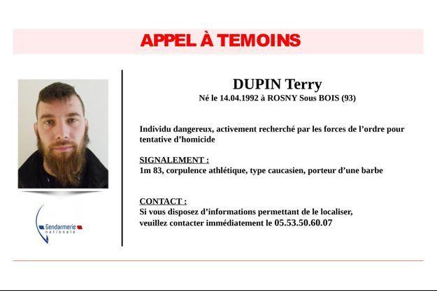 L'appel à témoins pour retrouver Terry Dupin, en fuite depuis plus de 24 heures.