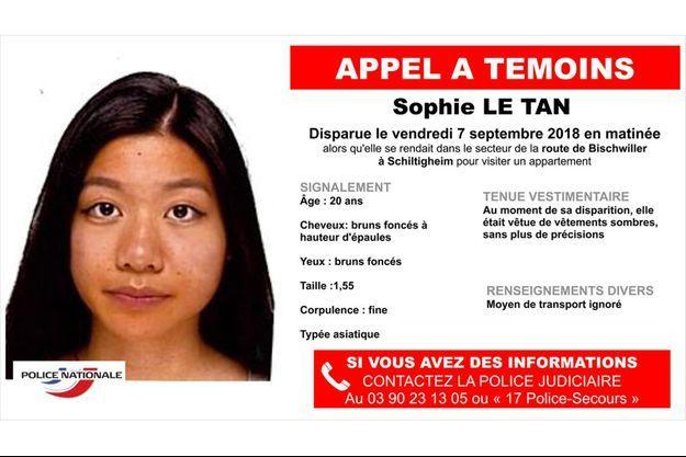 Sophie Le Tan a disparu le 7 septembre.