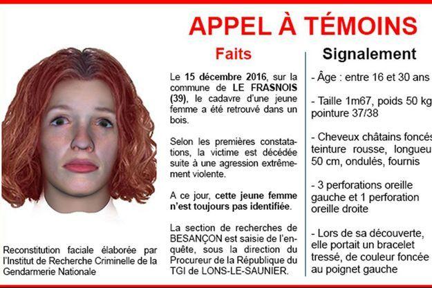 La gendarmerie a diffusé jeudi un portrait-robot en 3D pour tenter d'identifier la jeune femme.
