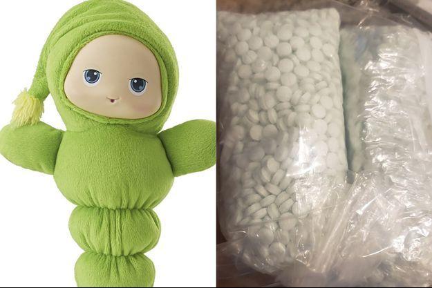Les pilules étaient cachées dans cette petite peluche achetée d'occasion.