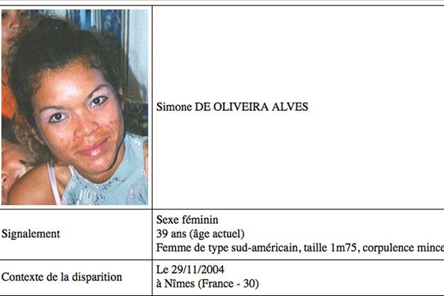 Une capture d'écran de la fiche de disparition de Simone de Oliveira Alves