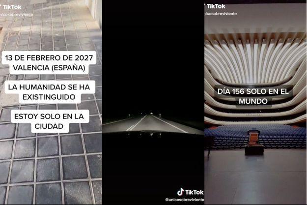 """""""13 février 2027, Valence (Espagne). L'humanité s'est éteinte. Je suis seul dans la ville"""" écrit-il dans sa première vidéo partagée sur TikTok."""