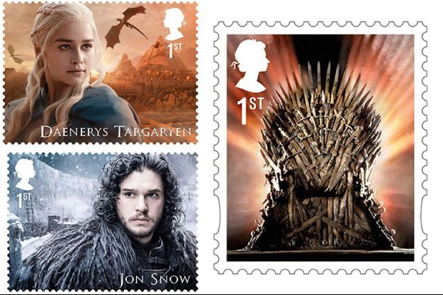 Certains timbres à l'effigie des personnages de Game of Thrones.