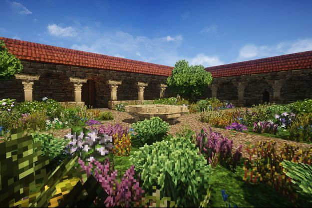 Un apaisant jardin dans la cour d'un presbytère.