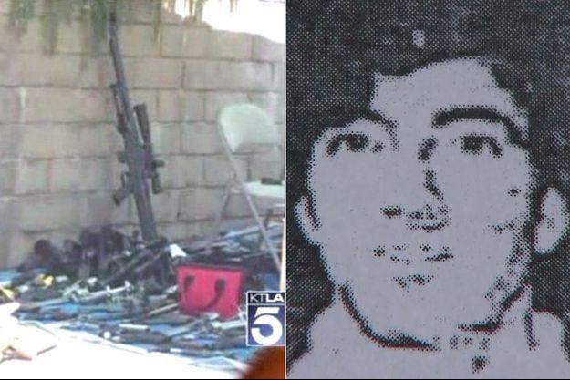 A gauche, une partie de l'incroyable arsenal retrouvé au domicile de Jeffrey Lash. A droite, l'unique photo connue de cet homme, datée d'avant 1996.