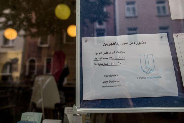 L'entrée du centre pour réfugiés de Dortmund, où a séjourné le touriste chinois