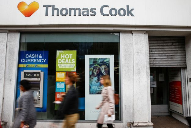 Une devanture à Londres de la compagnie Thomas Cook.