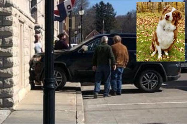 La scène de l'accident et, en médaillon, le chauffard, Callie.