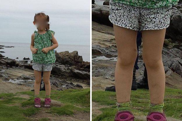 A gauche la fille de Martin Springall photographiée par son père à Zushi, au Japon. A droite, un agrandissement de la zone où apparaissent deux pieds mystérieux.