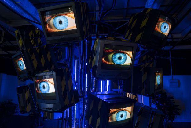 Une exposition dédiée au Cyberpunk à Hon Kong, en octobre 2020.