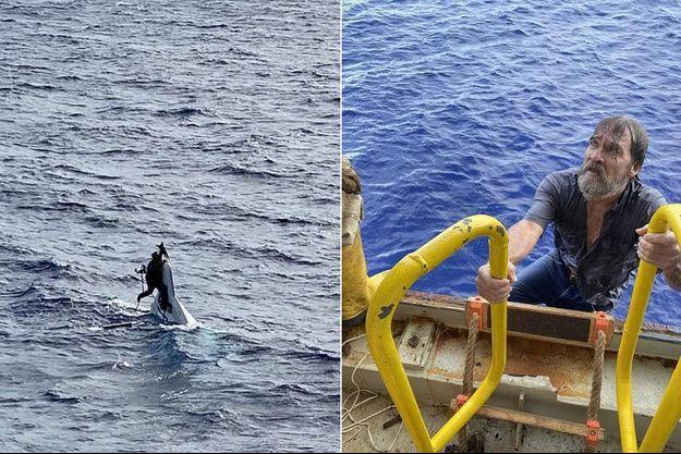 A gauche, Stuart Bee accroché à la proue de son bateau avant de grimper a bord du navire qui l'a recueilli.