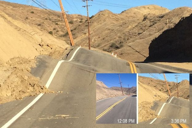La route du Vasquez Canyon dévastée en l'espace de trois heures le 19 novembre.