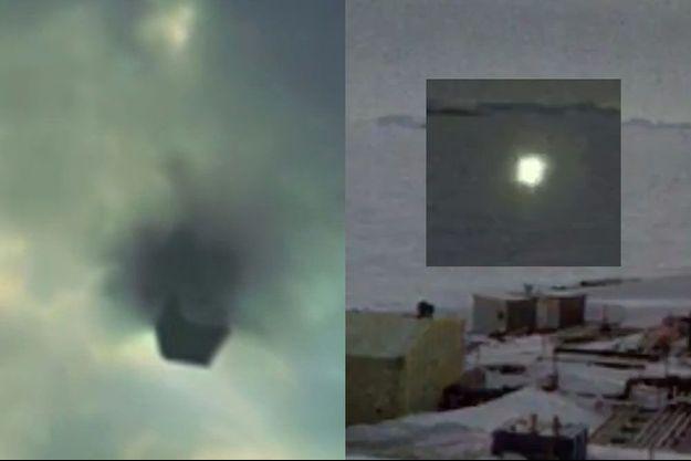 A droite, ce magnifique OVNI en forme de cube est vraisemblablement un canular. A droite: cette lumière (très) vaguement paralépipèdique mérite une seconde chance.