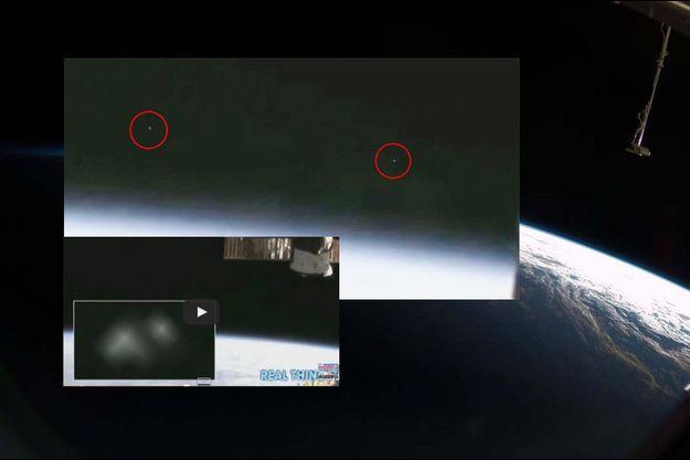 Copies d'écran de la vidéo filmée par l'ISS.