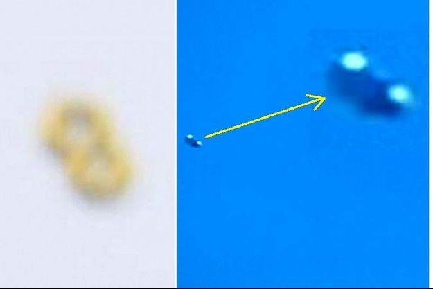 A gauche, l'OVNI photographié à Bogota le 12 avril. A droite, celui filmé à Rome le même jour. Un point commun entre ces deux images prises par des photographes professionnels: c'est flou !