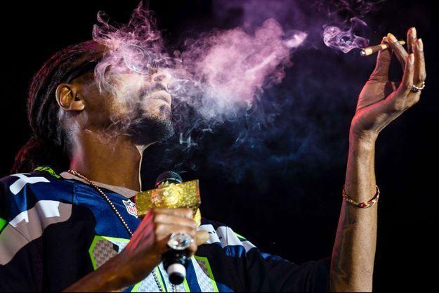 "Le rappeur Snoop Dogg en train de fumer au ""Snoop's Wellness Retreat"", le 19 avril 2014."