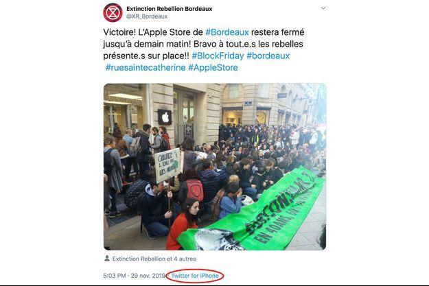 Le tweet du collectif Extinction Rebellion Bordeaux.