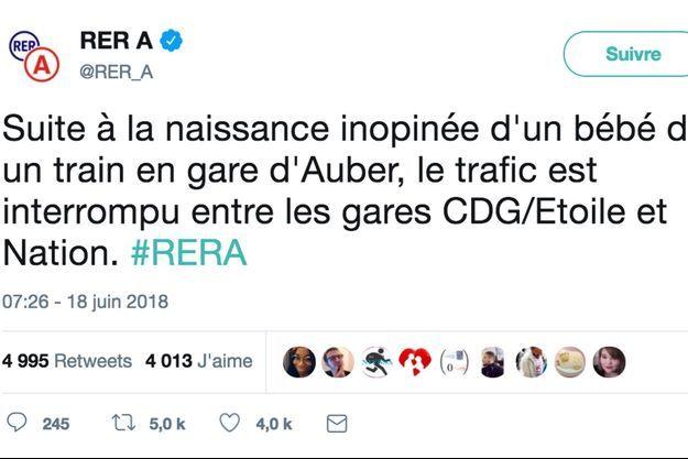 Le premier tweet de la RATP annonçant l'heureuse nouvelle.