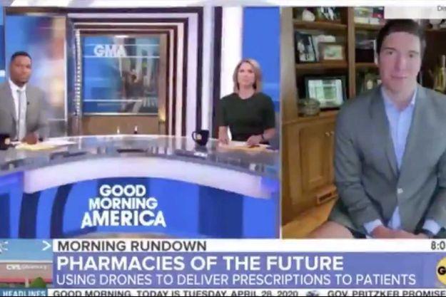 "Will Reeve en short lors de son intervention à ""Good Morning America"" mardi."