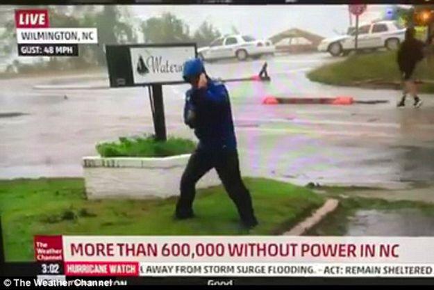 Le reporter Mike Seidel sur la chaîne de télé The Weather Channel.