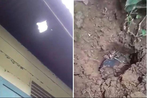 A gauche, le trou dans de le toit Joshua Hutagalung et la météorite enfoncée de 15 centimètres dans sa cour.