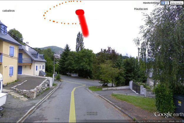 Le lieu précis où s'est déroulée l'observation de Freddy Sailly à Arcizans-Avant, dans les Hautes-Pyrénées.