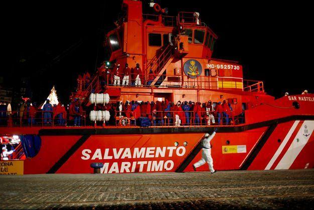 Un navire des secours maritimes espagnols à Malaga, en janvier 2019.