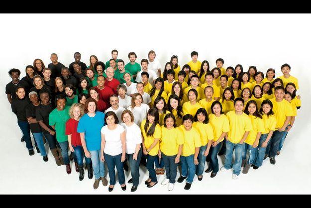 Sur la photo ci-dessus, la population des différents continents est représentée à proportion.