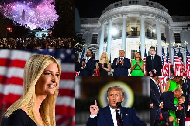 Le clan Trump, dont Ivanka Trump (à g.), jeudi soir, pour le dernier soir de la convention républicaine à Washington.