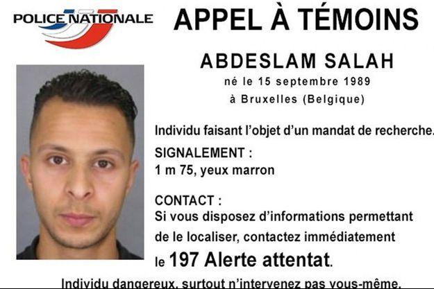 L'avis de recherche de Salah Abdeslam