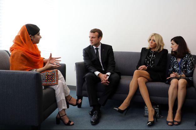 Malala, Emmanuel Macron, Brigitte Macron