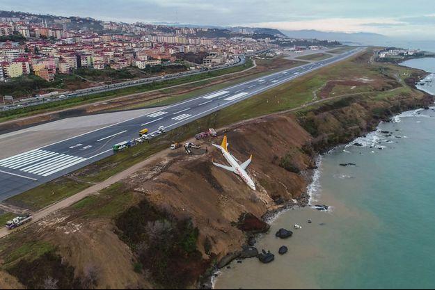 Avion qui a dérapé le 13 janvier 2018 à Trabzon, en Turquie.