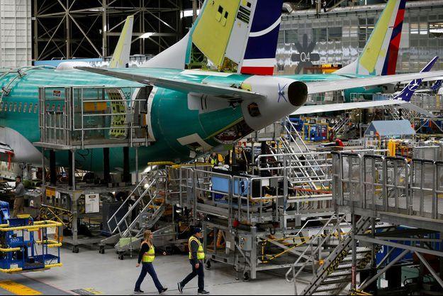 Un Boeing 737 MAX dans une usine dans l'Etat de Washington.