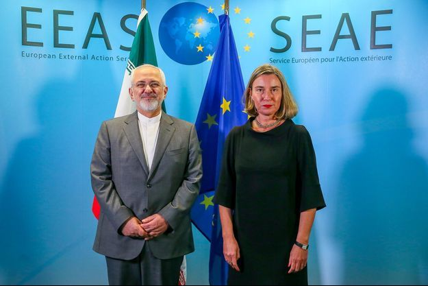 Le ministre iranien des Affaires étrangères Mohammad Javad Zarif et la cheffe de la diplomatie européenne Federica Mogherini, en avril 2018.
