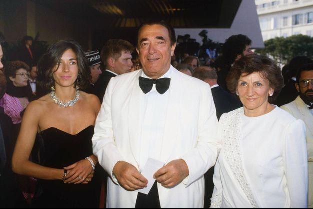Ghislaine, Robert et Elizabeth Maxwell à Cannes en 1987.