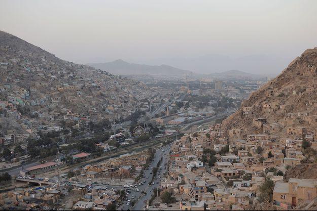 Vue aérienne de Kaboul, en Afghanistan.